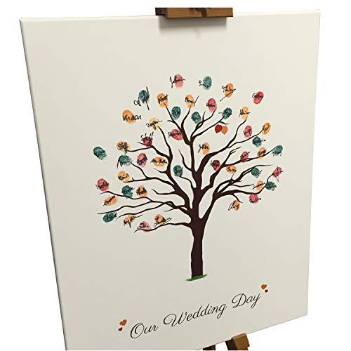 Lienzo personalizado para bodas, diseño de árbol de otoño (como libro de...