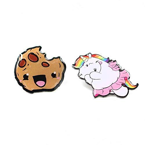 Pummeleinhorn Damen Pummeleinhorn & Cookie Pins, Bunt, 25 x 25 mm/27 x 30 mm
