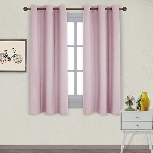 NICETOWN Nursery Essential Thermal Insulated Solid Grommet Top Blackout Curtains/Drapes (1 Pair, 42 x 63 inches in Baby Pink)
