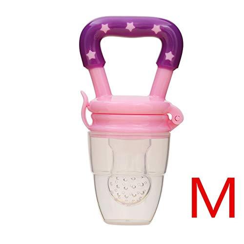 Baby Fruit Bite Bag Alimentador de fruta para bebés Chupete Nutrición para bebés Masticación de frutas y verduras Fruta Mordida de comida - Rosa M 29mm