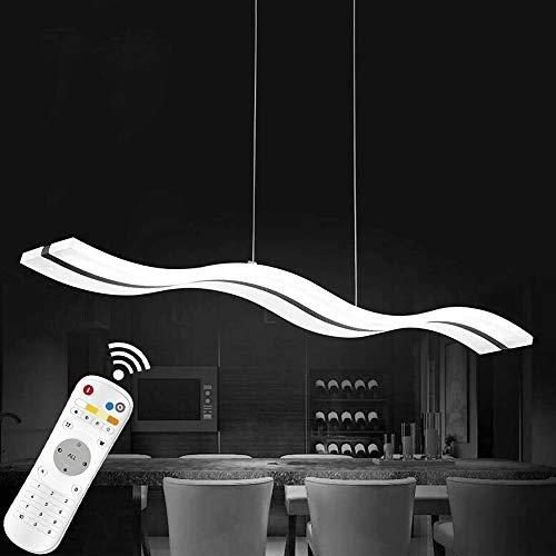 Moderne LED Pendelleuchte Gebogene Hängeleuchte Dimmbar Höhenverstellbar mit Fernbedienung Pendellampe 38W Esstischlampe Aluminium Acryl Esszimmer Wohnzimmer Küche 2700-6000K