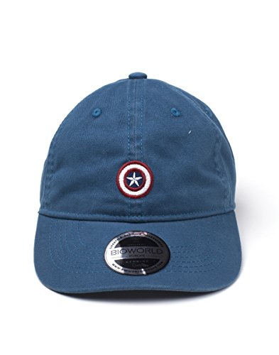 Bioworld Marvel Comics Captain America Embroidered Shield Stone Washed Denim Dad Cap...