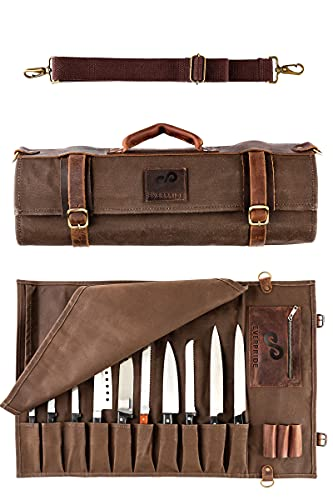 EVERPRIDE Chef Knife Roll Bag Holds 10 Knives and Kitchen Tools – Durable Knife Case Made of...