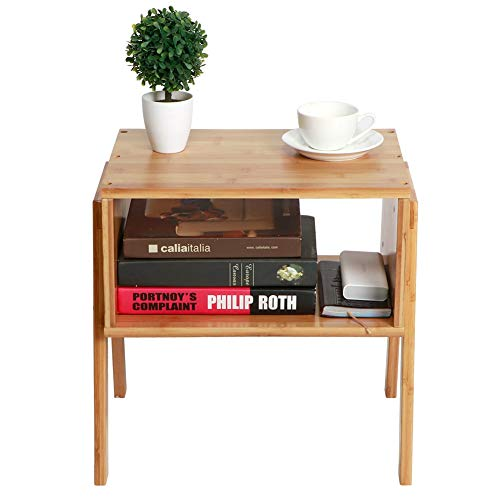 Greensen Mesita de noche de bambú, 2 piezas, mesita de noche apilable, mesita de noche nórdica, armario, para sala de estar, dormitorio, 40 x 29 x 42 cm