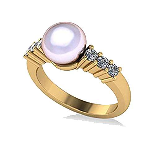 Anillo de compromiso con perlas y diamantes acentuado 14k Oro amarillo 8 mm (0.30ct), Anillo de compromiso de oro amarillo Por siempre uno, Alianza, Anillo de promesas