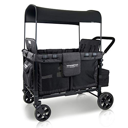 WONDERFOLD W4 4 Seater Multi-Function Quad Stroller Wagon with Removable Raised Seats and Slidable Canopy, Black
