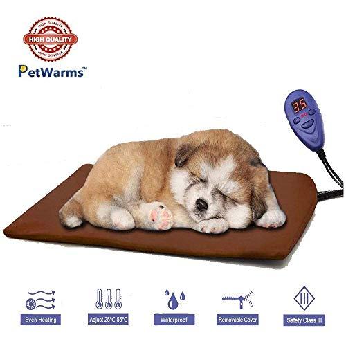 WHCCL verwarmingskussen voor huisdieren, 7-traps regelaar DC12V veilige elektrische hondenkat verwarmingsdeken waterdicht, zacht gezellig voor grote katten, middelgrote honden, 50 x 50 cm