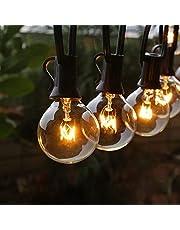 Fochea Lichtsnoer voor buiten, G40, 11 m, 30 leds, IP44 waterdicht, voor Kerstmis, bruiloft, feest, buitendecoratie, warm wit