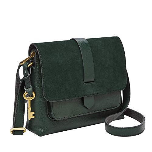 "Fossil Women's Kinley Leather Small Crossbody Handbag, Green,8.63""L x 2.5""W x 7""H"