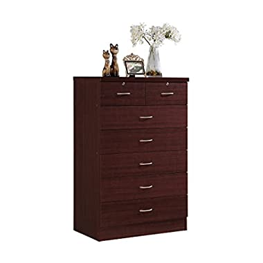 HODEDAH IMPORT Hodedah 7 Drawer Chest, Five Large Drawers, Two Smaller Drawers with Two Locks, Mahogany