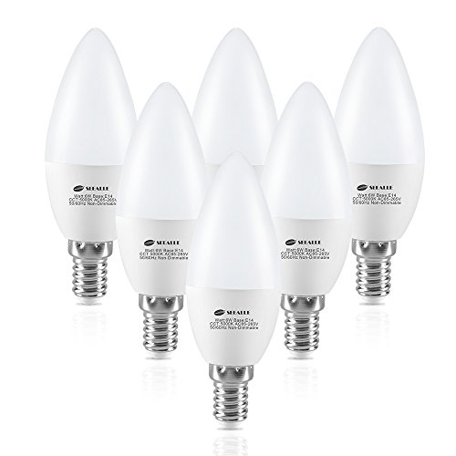 E14 LED Candle Lights, Seealle C37 E14 LED Bulbs 5000K Cool White, 6W C37 (SES) Small Edison Screw Candle Bulb, Equivalent to 60W Incandescent Bulb, 600 Lumen, Non-Dimmable (Pack of 6)