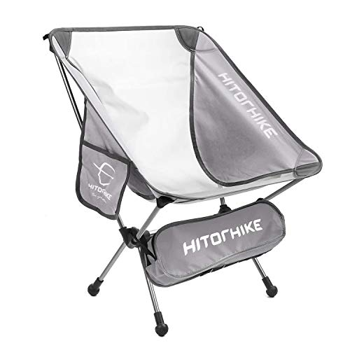 Hitorhike Camping Chair Breathable Mesh Construction 2 Side Pockets Aluminum Frame Camp Chair with Carry Bag Compact and Lightweight Folding Chair for Backpacking and Camping (Grey 1pcs)