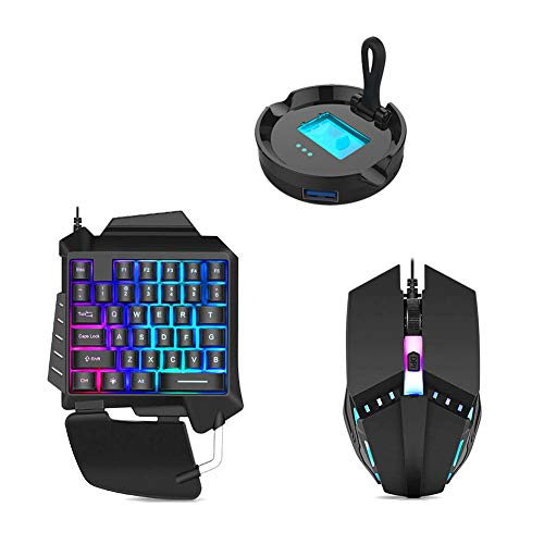 One-Handed Keyboard Mouse 3-in-1 Gaming Keyboard Set Ergonomic Wired USB Gaming Home Office Mobile Phone Keypad Keyboard