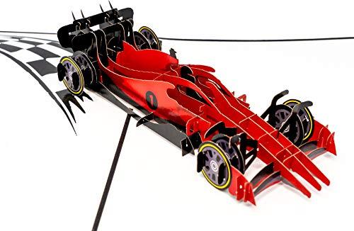 LuckeeCards 3D Pop Up Karte F1 Rennwagen - Formel Auto rot - Rennsport - Autorennen - Geburtstagskarte