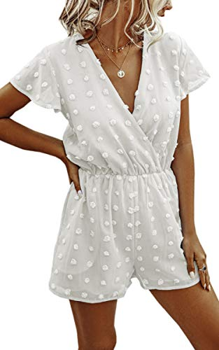 Angashion Women's Rompers-Summer Deep V Neck Wrap Floral Polka Dot Short Sleeve Beach Short Jumpsuit White Small