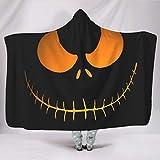 Manta con capucha para Halloween, terror, transpirable, incolora, para habitación en invierno, estilo informal, color blanco, 130 x 150 cm