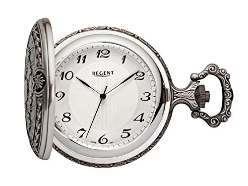 Regent C335311 - Reloj de bolsillo para hombre (caja plateada con tapa de salto, cadena de 41 x 11 mm)