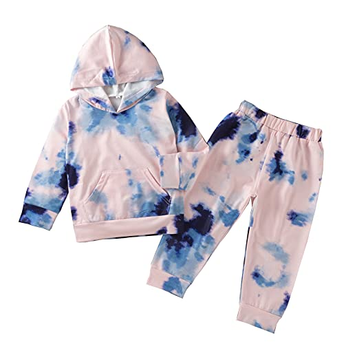 Little Baby Girl Tie Dye Long Sleeve Hoodie T-Shirt Tops Pants Trousers 2 Piece Outfits Winter Fall Clothes Set Blue 110 3-4 Years