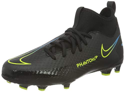 Nike JR Phantom GT Academy DF FG/MG, Zapatillas de ftbol, Black Black Cyber Lt Photo Blue, 38.5 EU