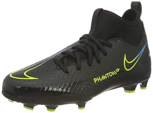 Nike JR Phantom GT Academy DF FG/MG, Scarpe da Calcio, Black/Black-Cyber-lt Photo Blue, 37.5 EU