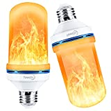 Yewclls LED Flame Effect Light Bulb, 4 Modes E26 Base Fire Light Bulbs with Gravity Sensor, Flickering Light Bulb for Indoor / Outdoor / Christmas Decoration (2 Pack)