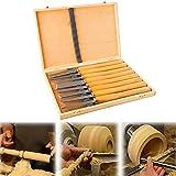 8 herramientas de torneado de madera con caja de madera, acero inoxidable, juego de cinceles torneados para profesionales o aficionados a la madera