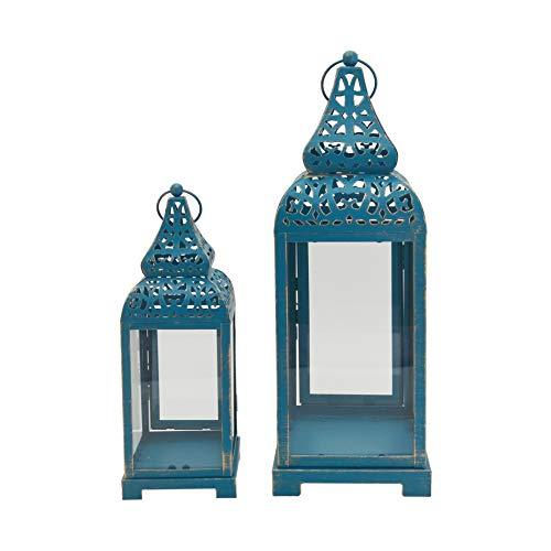 Rebecca Mobili Lanterne Porta Candela Decorative Etniche, Metallo PVC, Azzurre Dorate, per Eventi Matrimoni Arredo Casa - Misure: 39 x 14,5 x 14,5 cm - Art. RE6549