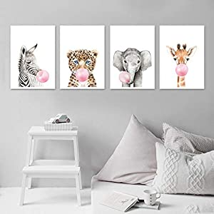 HUANGXLL Pink Bubble Elephant Giraffe Child Poster Animal Wall Art Canvas Nursery Prints Painting Nordic Kid Baby Room Decoration Picture-30x40cmx6 No Frame
