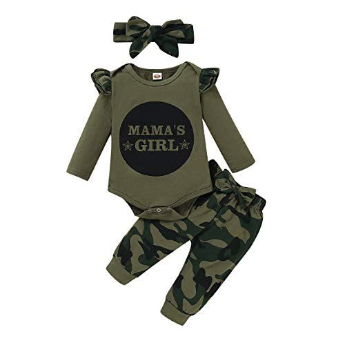 6-9 Months Girl Clothes Baby Girl Outfit Ruffle Long Sleeve Mamas Girl Shirt Toddler Camo Pants Set 2 Pcs Infant Clothing 6-12 Months, Ca-Green