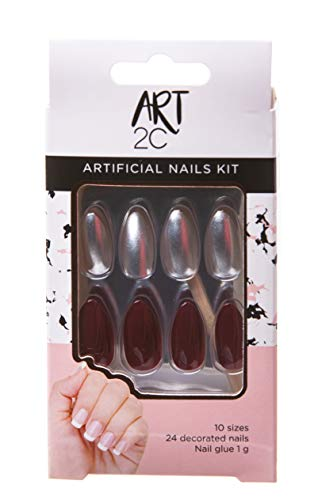 Art 2C - künstliches Nagelset, mit Kleber, passende Form, problemlos entfernbar, 24 dekorierte Nägel, 10 Größen - Silbern und Dunkelrot, 042