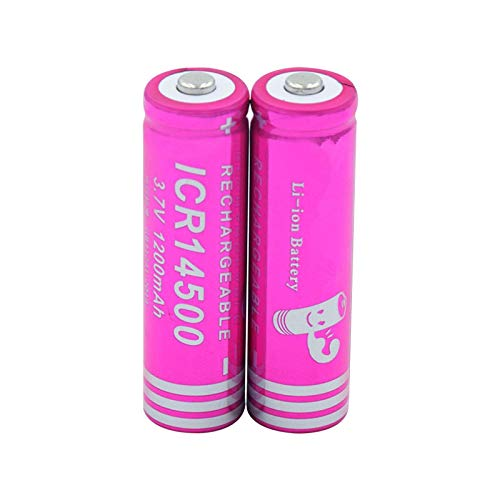 WSXYD Icr 14500 Lithium Battery, 3.7 v 1200mah Rechargeable Li Ion Battery for Led Flashlight Power Bank 2pieces