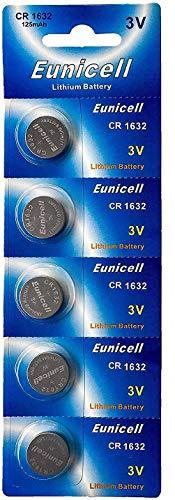 Eunicell Knopfzellen DL1632LM1632 CR 1632,Batteriezellen, Lithium, 3V, 5 Stück