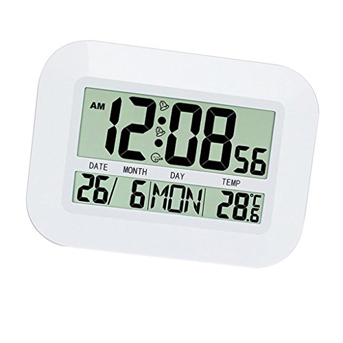 MagiDeal Exhibición Grande del Calendario de La Temperatura del Despertador de La Repetición del Escritorio del Reloj de Pared del LCD