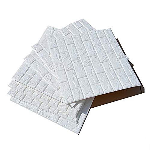 10Stücke 3D Ziegelstein Tapete 60x60cm Brick Pattern Wallpaper Wandaufkleber Fototapete Wandtapete Abnehmbare Selbstklebend Imitation Ziegel Dekor Wohnzimmer Schlafzimmer Kinderzimmer Badezimmer Küche