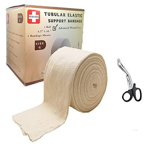 Premium Elastic Tubular Medical Bandage Size G Stockinette, 4.7' inches x 33 Feet Plus Medical Scissors