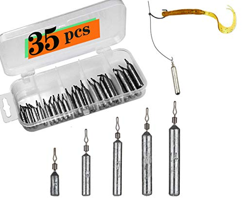 Fishing Drop Shot Weights Rig Kit Sinkers 35pcs Trokar with Lead for Bass Fishing with Tackle Box