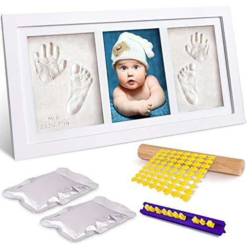 Frasheng Kit de Huellas de Mano y Pie de Bebé,Kit de Marco de Bebé,Marco Huellas Bebé,con Marco de Fotos Madera,Moldes Alfabeto,para Bebé Recién