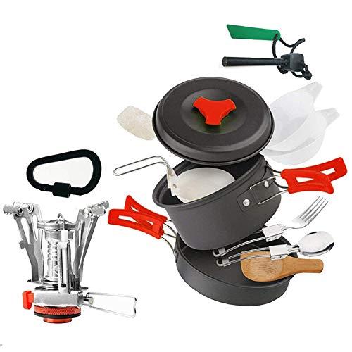 WJQ Outdoor Picknick Pot Set - 1 tot 2 Personen Combinatie Aluminium Anti-Roest Voedsel Anti-Roest Klein en Licht Gemakkelijk schoon te maken Gebruik - Zeer Geschikt voor Wandelen Camping Gebruik