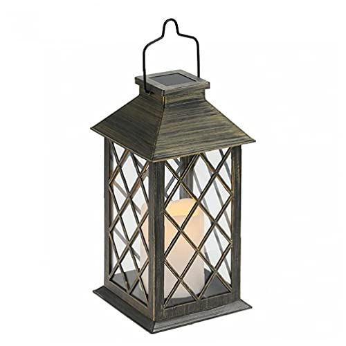 Tall Vintage Candle Lantern with Led Flickering Flameless Candles (distressed) - Led Candle Lanterns Decorative - Indoor Outdoor Hanging Lights - Candles & Holders