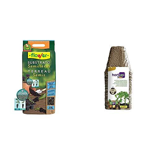 Flower 80049 80049-Substrato semilleros, 20 l, No Aplica, 30x5x55 cm + 55043 55043-Semilleros biodegradables Cuadrados, 18 Unidades, Marron, 8x8 cm