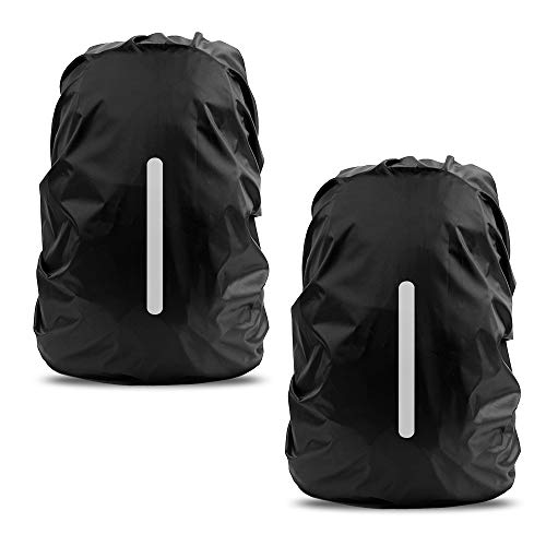 LAMA 2pcs Waterproof Rain Cover for Backpack, Reflective Rainproof Protector for Anti-dust and Anti-Theft S 18L-25L Black