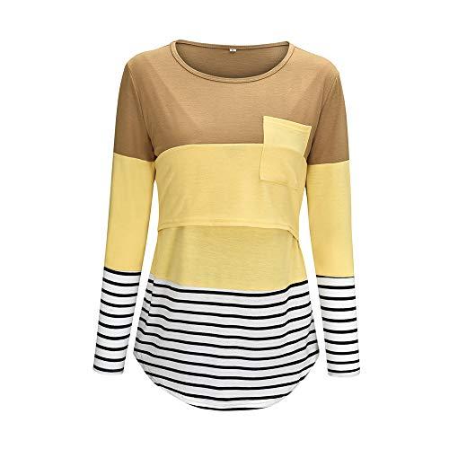Camiseta Mujer Sexy Camisa De Rayas Verano Elegante Fibra Elástica Cómoda Manga Larga Verano Nuevo Cómodo Slim Fit Ropa De Enfermería Informal Transpirable Camiseta De Retazos A-Yellow L