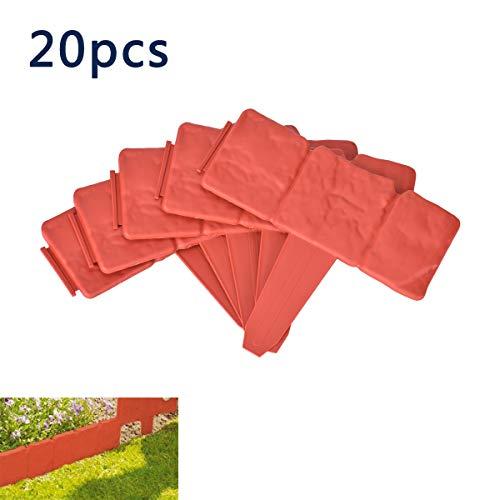 Queta 20 stücke Gartenzaun Kunststoff für Garten Nachahmung Stein, 25 * 23,5 cm Falten Kunststoff Garten Ränder, Grenze Pflanzendekoration zum Schutz der Ränder des Rasens oder der Terrasse (Orange)