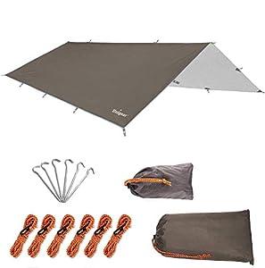 Unigear Toldo Camping Impermeable Lona Suelo Protector Aolar Anti-Viento Toldos para Playa Tienda Hamaca Acampada Refugio Al Aire Libre (300 * 300cm, Coffe)
