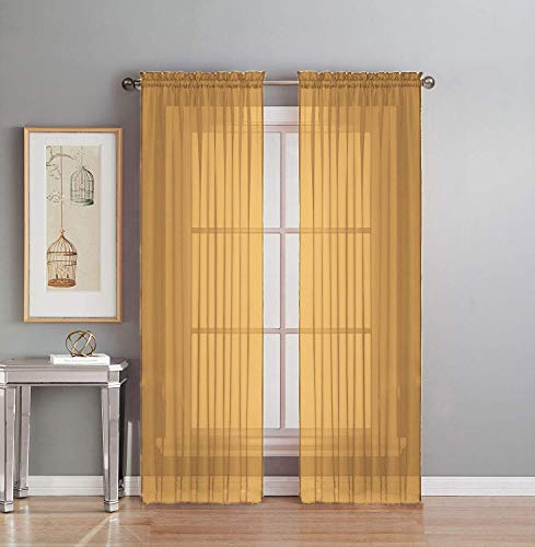 "Interior Trends 2 Piece Fully Stitched Sheer Voile Window Panel Curtain Drape Set (84"" Long, Gold)"