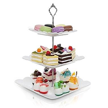 Decorative Metal & White Ceramic 3 Tier Serving Platter / Tea Party Centerpiece Dessert Stand Tower