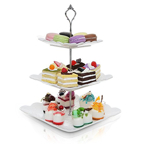 Decorative Metal & White Ceramic 3 Tier Serving Platter/Tea Party Centerpiece Dessert Stand Tower