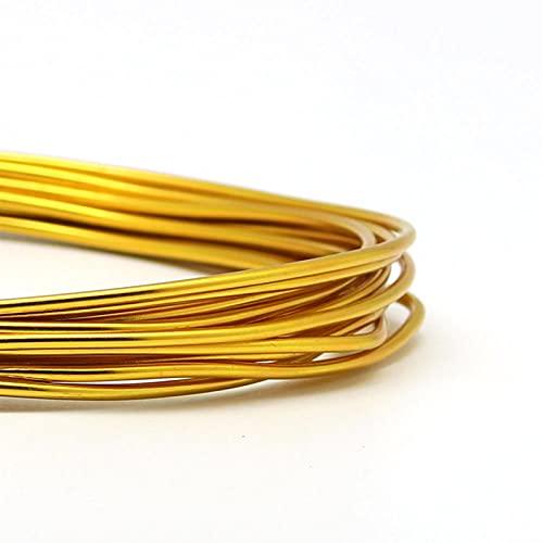 HLH Alambre de aluminio, accesorios de joyería para hacer joyas, alambre de manualidades de 1 mm/1,5 mm/2 mm/2,5 mm (color: oro, tamaño: 2,5 mm 3 metros)