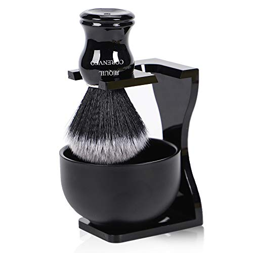 Je&Co Men's Shaving Brush Set, 3 in 1 Synthetic Shaving Brush with Acrylic Stand and Steel Bowl