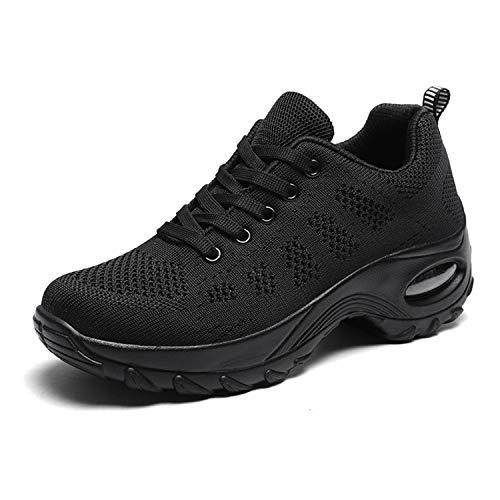 WOWEI Zapatillas Deportivas de Mujer Ligero Respirable Running Sneakers Mesh Plataforma Mocasines Zapatos de Cuña,Negro,37 EU